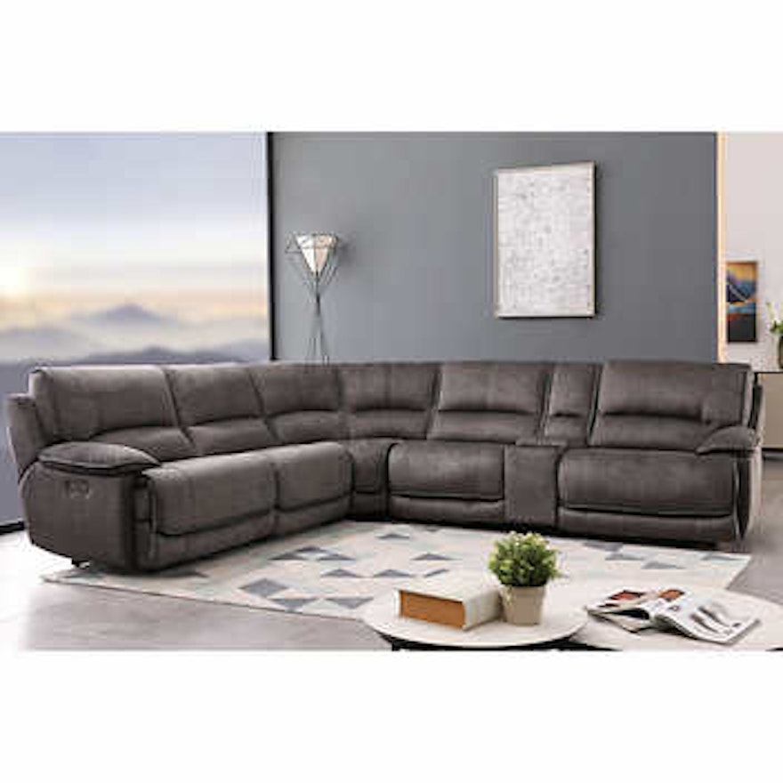 """""""Redding"""" Six-Piece Fabric Power Reclining Sectional with Power Headrest"""