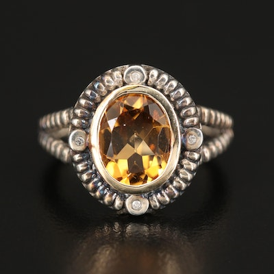 Sterling Citrine and Diamond Ring with 14K Accent