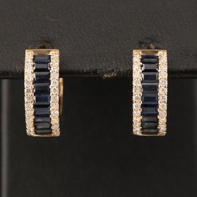 EFFY 14K YELLOW GOLD DIAMOND, NATURAL SAPPHIRE EARRINGS