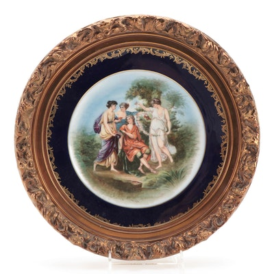 Charles Ahrenfeldt Limoges Porcelain Plate in Frame, Mid-20th Century