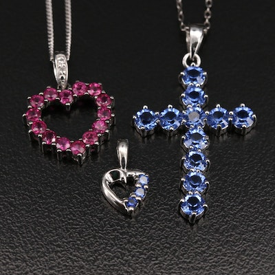 Sterling Ruby and Gemstone Hearts and Cross Pendant Necklaces and Pendant