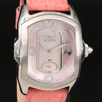 Invicta Lupah Pink Mother of Pearl Dial Stainless Steel Wristwatch
