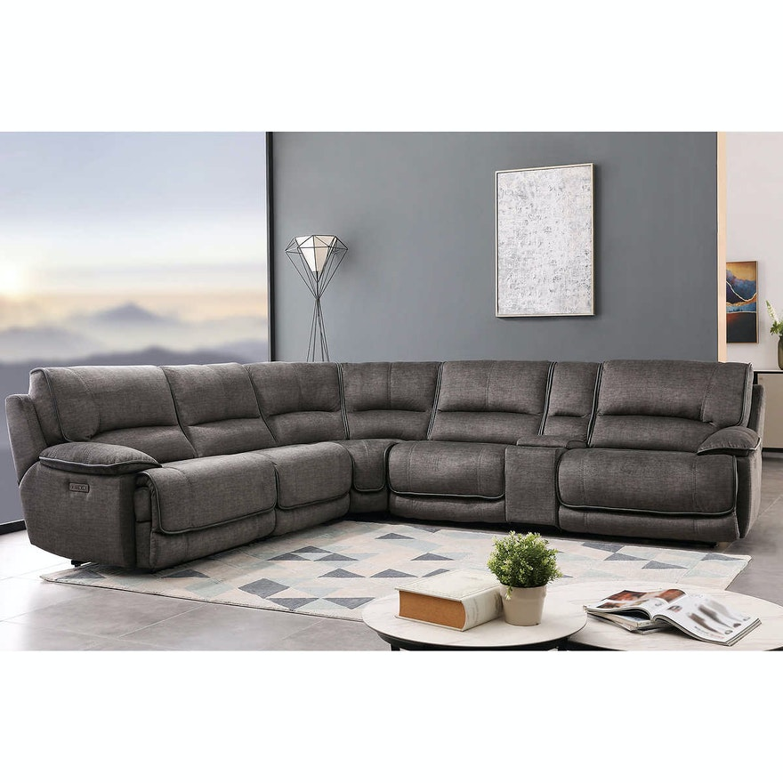 """Cheers """"Redding"""" Six-Piece Fabric Power Reclining Sectional with Power Headrest"""