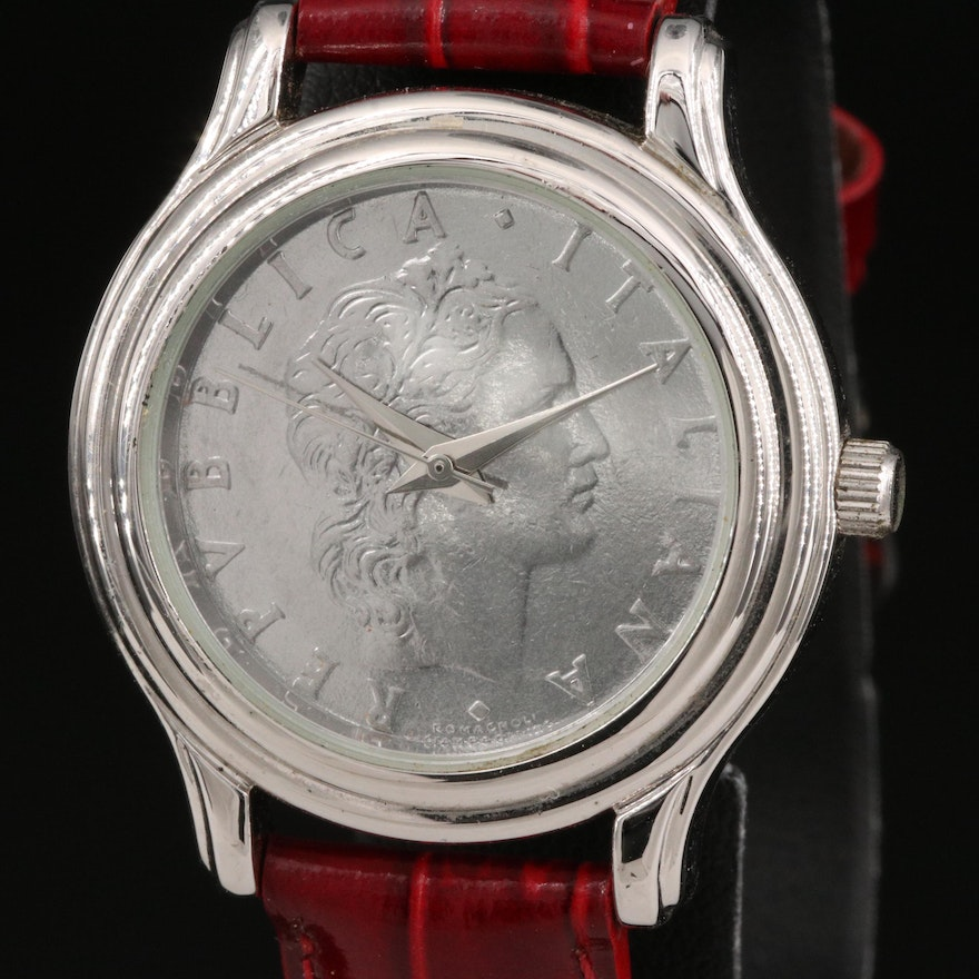 Momenti Sterling Silver and Stainless Steel Replica Coin Wristwatch
