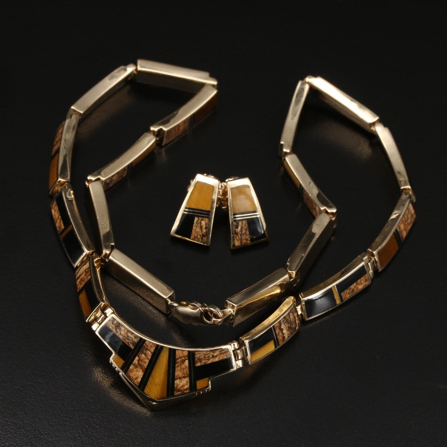 14K Jasper, Tigers Eye and Gemstone Inlay Earrings and Choker
