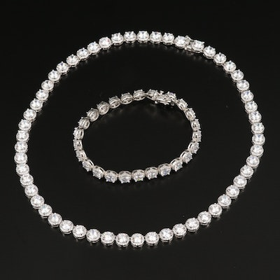 Sterling Cubic Zirconia Line Bracelet and Necklace
