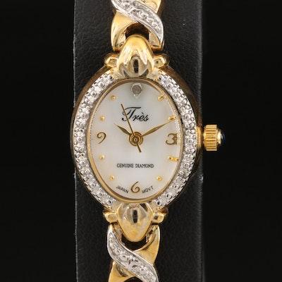 Tre's Genuine Diamond Quartz Wristwatch