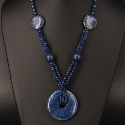 Lapis Lazuli Beaded Station Necklace