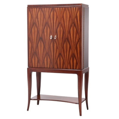 Art Deco Style Parquetry-Veneered Bar Cabinet-on-Stand