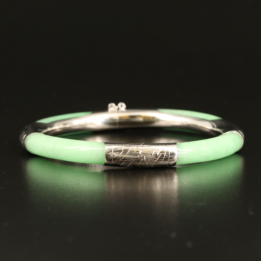 Chinese Etched Sterling Jadeite Bangle