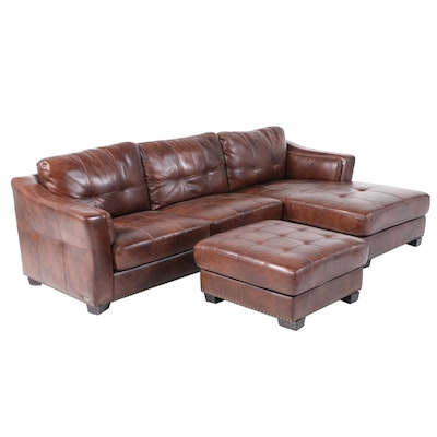 """Abbyson Living """"Rosemary"""" Leather Sectional and Ottoman"""