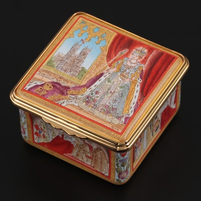 Halcyon Days 50th Coronation Anniversary Commemorative Enameled Trinket Box