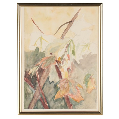 Ruth Wharton Watercolor Painting of Autumn Foliage, Mid-Late 20th Century