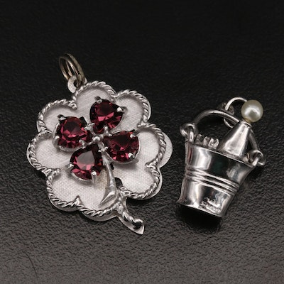 Vintage Sterling Pearl and Glass Clover and Bucket of Champagne Pendants