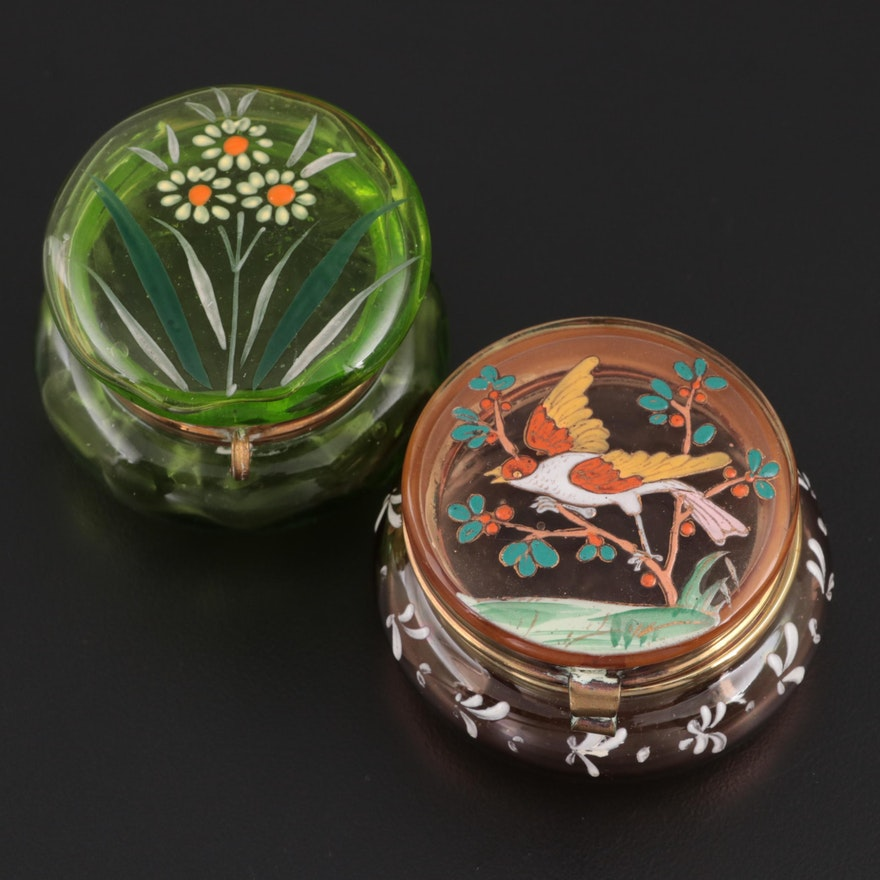 European Hand-Painted Enameled Boxes, Mid to Late 19th Century