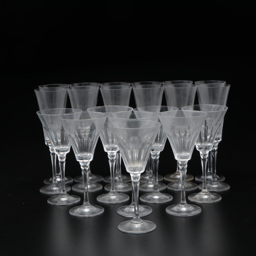 Clear and Frosted Glass Champagne Flutes and Wine Goblets