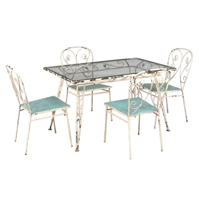 Scrolled Painted Metal and Glass Top Five-Piece Patio Table and Chair Set
