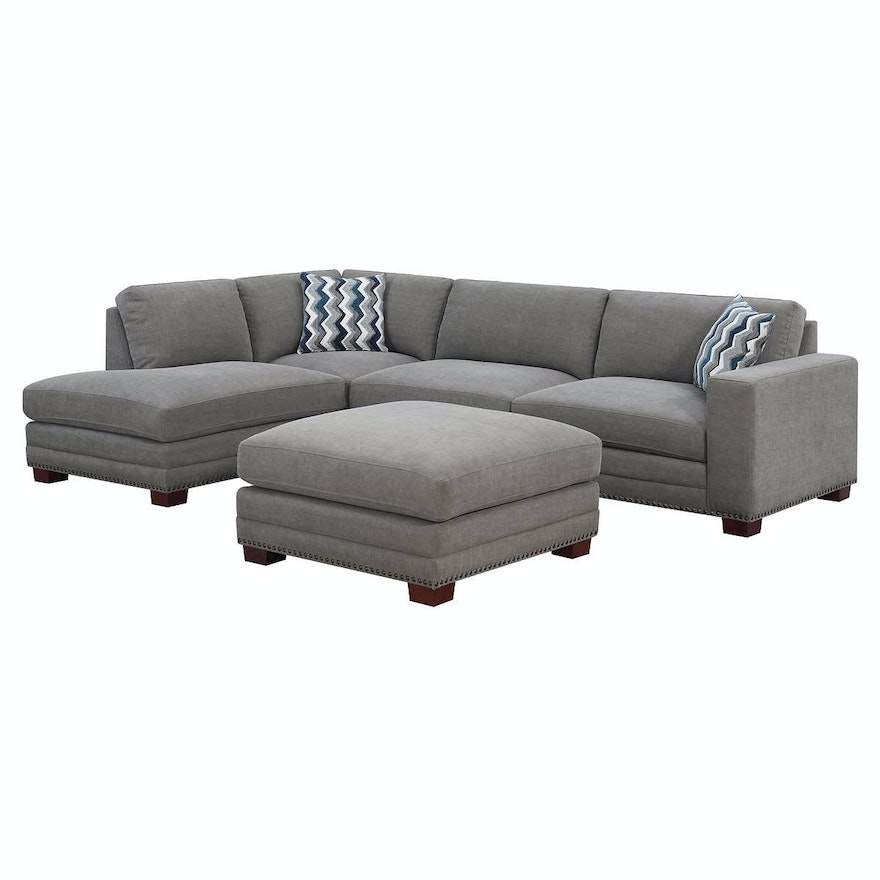 """""""Penelope"""" Two-Piece Fabric Upholstered Sectional with Ottoman"""