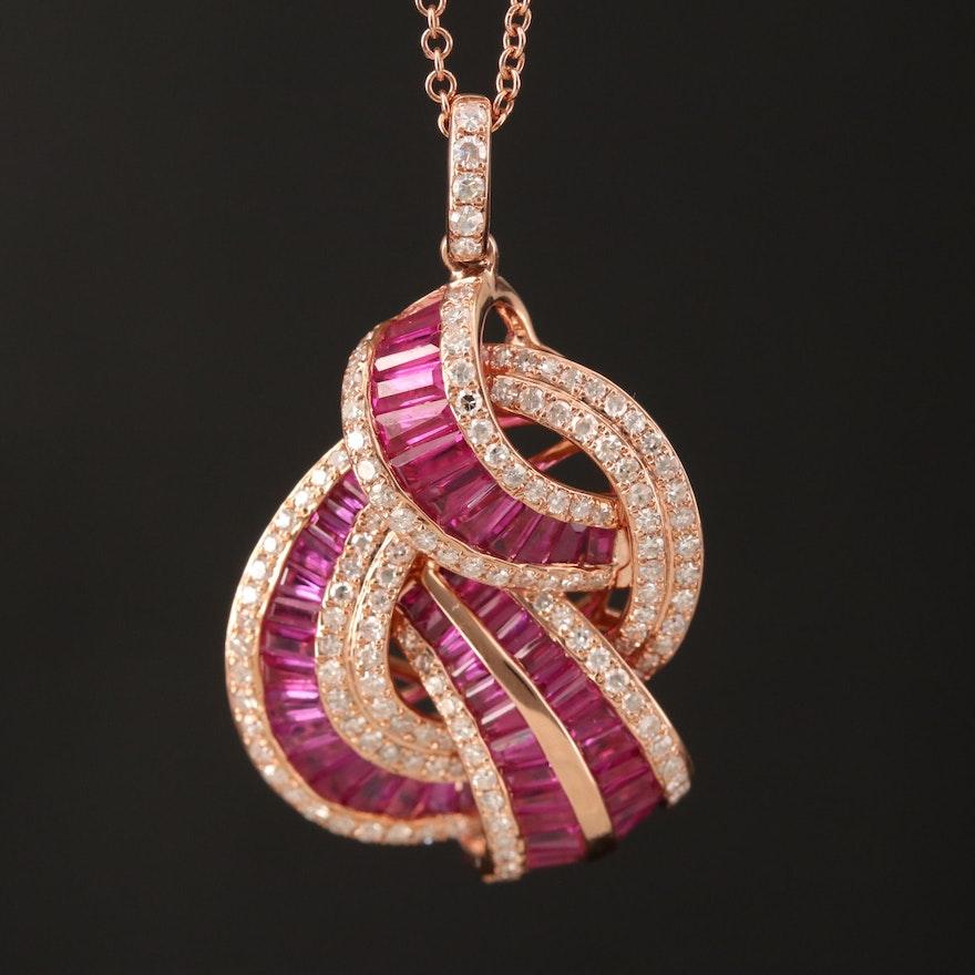 EFFY 14K Rose Gold Ruby and Diamond Pendant Necklace