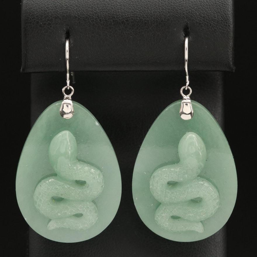 Sterling Jadeite Snake Dangle Earrings