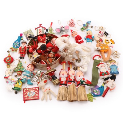 Elf, Santa, Angel, and More Ornaments with Other Holiday Decor