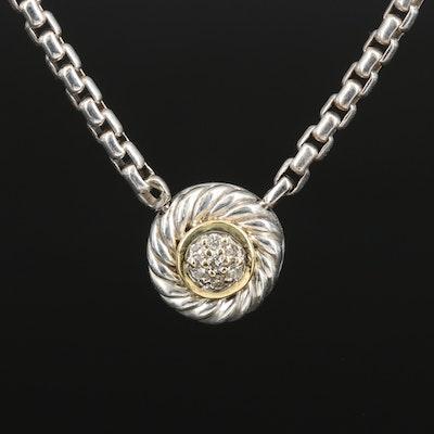 David Yurman Sterling Diamond Pendant Necklace with 18K Accent