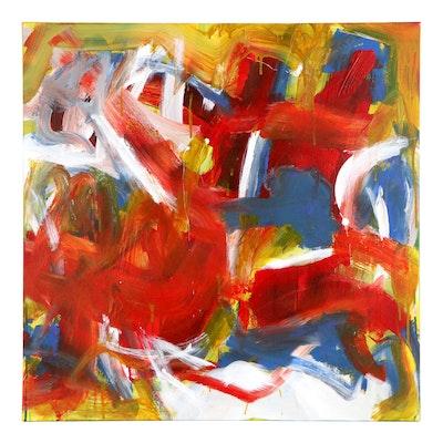 "Robbie Kemper Acrylic Painting ""Orange Blue Yellows"""