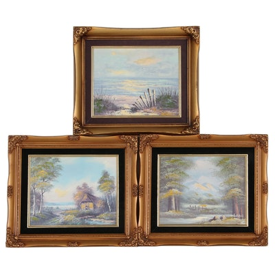 Embellished Offset Lithograph Landscapes, Late 20th Century