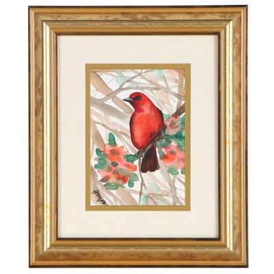 Anne Gorywine Watercolor Painting of a Bird, 21st Century