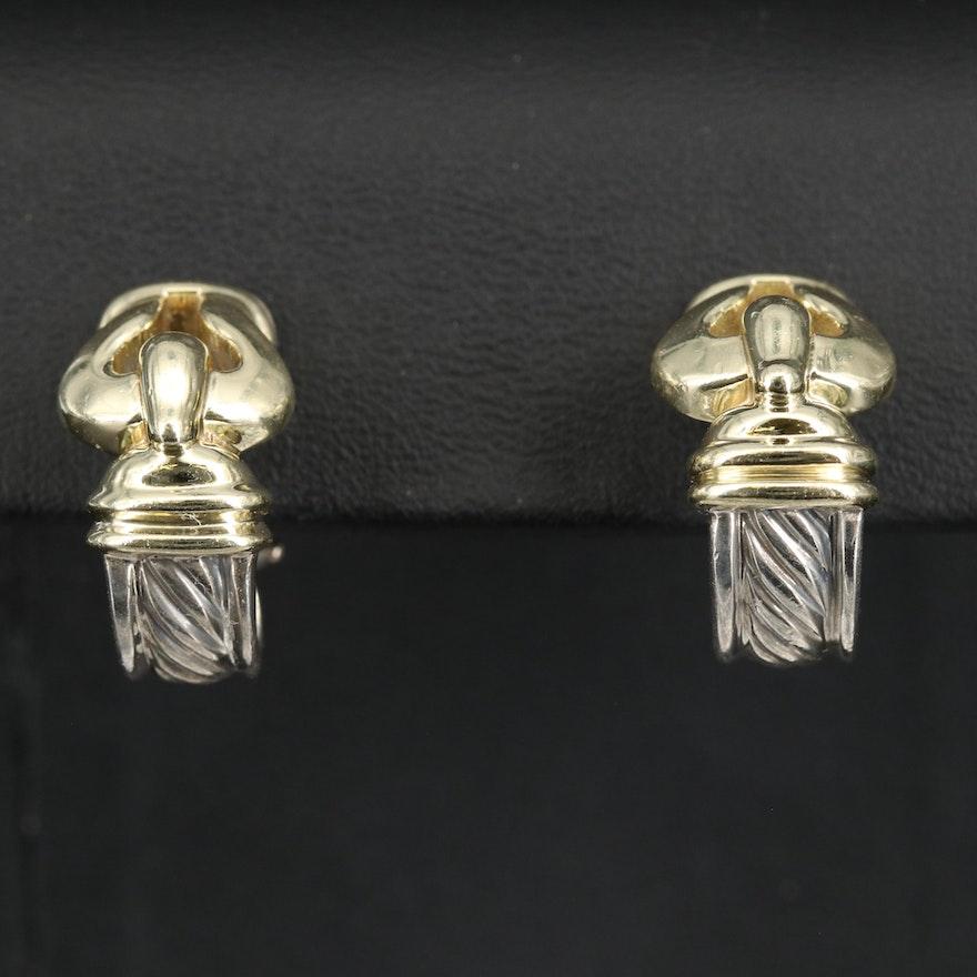 David Yurman Sterling Silver and 14K Buckle J Hoop Earrings