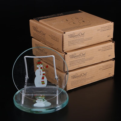 """The Pampered Chef """"Snowmen"""" Glass Appetizer Plates"""