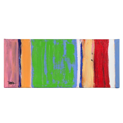 """Robbie Kemper Acrylic Painting """"Verticals with Blue Green"""""""