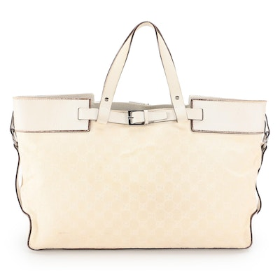 Gucci GG Canvas and Ivory Leather Buckle Tote