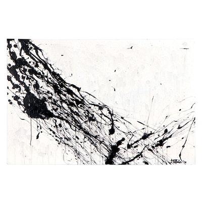"J. Popolin Acrylic Painting ""Thunderstorm,"" 2021"
