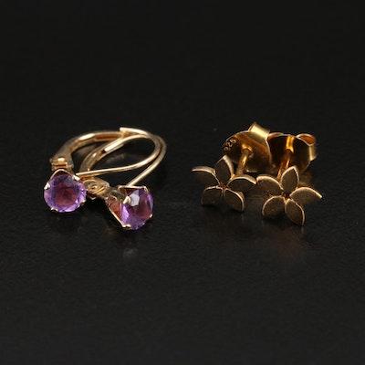 Isabel Camille Sterling Amethyst Flower Earrings and Amethyst Drop Earrings