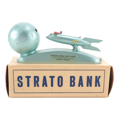 """""""Strato Bank"""" Metal Spring-Loaded Coin Bank, 1950s"""