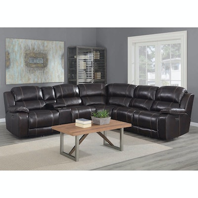 """Pulaski """"Dunhill"""" 3-Piece Leather Power Reclining Sectional with Power Headrest"""