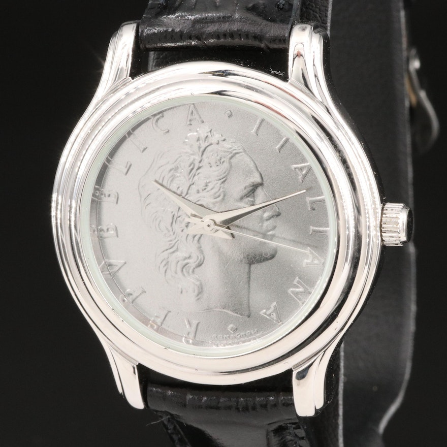 Momenti Sterling Silver and Stainless Steel Italian Replica Coin Wristwatch