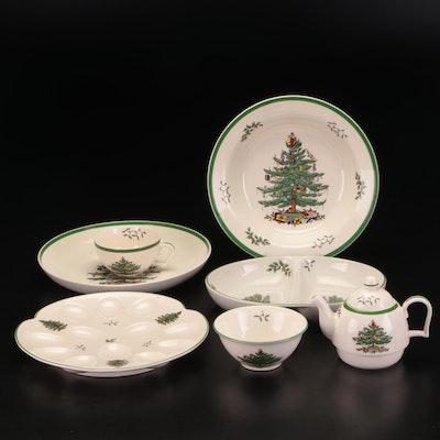 "Spode Porcelain ""Christmas Tree"" Serving Pieces"
