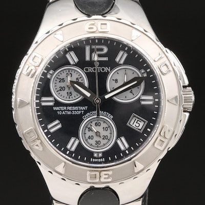 Croton Chronomaster Mother of Pearl Dial Stainless Steel and Rubber Wristwatch