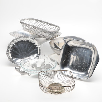 Nambe Aluminum Serving Platters and Silver Plate Baskets