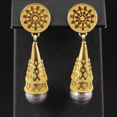 Luna Felix 22K Pearl Granulated Drop Earrings