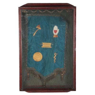 Silk Embroidery The Independent Order of the Odd Fellows Banner and Cabinet Case
