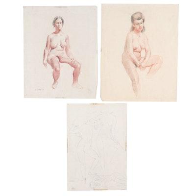 Edmond J. Fitzgerald Conté Crayon and Ink Studies of Female Nudes