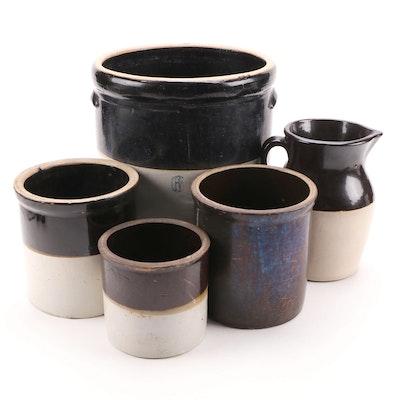 Six Gallon and Other Salt Glazed Stoneware Crocks and Pitcher
