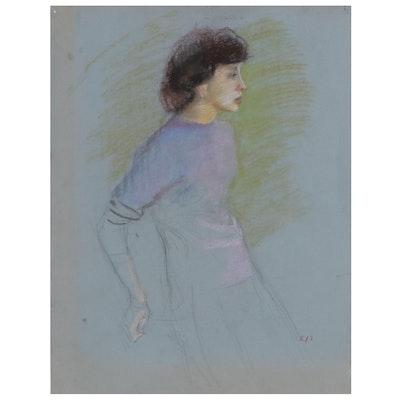 Edmond J. Fitzgerald Pastel Portrait of Woman, Mid-20th Century