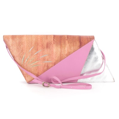 LS Oversized Geometric Patchwork Clutch in Snakeskin and Leather