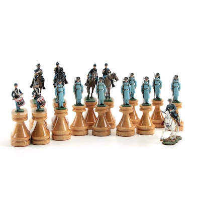 American Civil War Themed Cast Metal Figurines on Wooden Stands