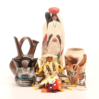 Acoma, Jemez and Navajo Pottery with Plains Type Doll, Figurine, Other Pottery