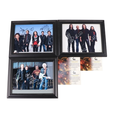 Journey, Queensryche, Ten Years After Signed Photos in Frames with COAs